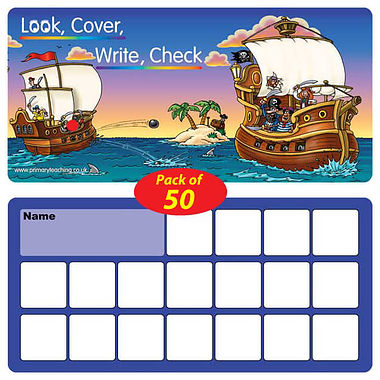 Pack of 50 Laminated Pirate Look, Cover, Write, Check Cards