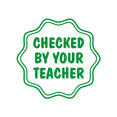 Checked by your Teacher Green Pre-inked Stamper