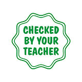 Checked by your Teacher Stamper - Green Ink (17mm)