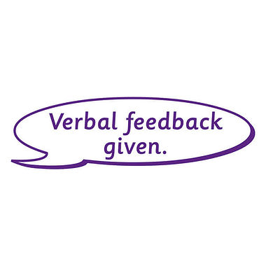 Verbal Feedback Given Purple Rectangle Stamper
