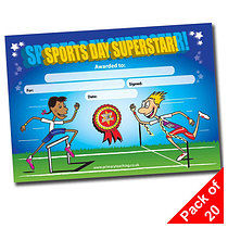 Pack of 20 Sports Day Superstar A5 Certificates