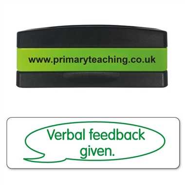 Verbal Feedback Given Stakz Stamper - Green Ink (44mm x 13mm)