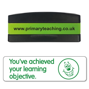 You've Achieved Your Learning Objective Stakz Stamper - Green Ink (44mm x 13mm)