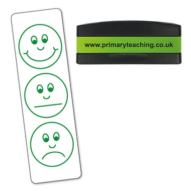 Smiley Faces Assessment Stakz Stamper - Green Ink (44mm x 13mm)