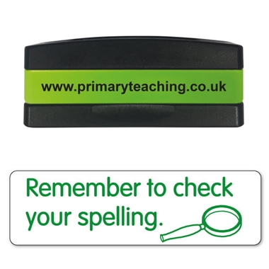 Remember to Check Your Spellings Stakz Stamper - Green Ink (44mm x 13mm)