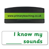 I Know My ___ Sounds Phonics Stakz Stamper - Green Ink (44mm x 13mm)