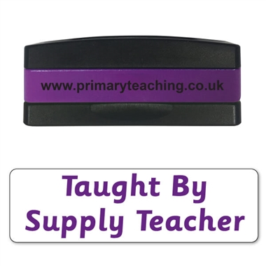 Taught by Supply Teacher Stakz Stamper - Purple Ink (44mm x 13mm)