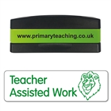 Teacher Assisted Work Stakz Stamper - Green Ink (44mm x 13mm)