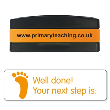 Well Done! Your Next Step is Stakz Stamper - Orange Ink (44mm x 13mm)