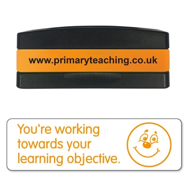 You're Working Towards Your Learning Objective Stakz Stamper - Orange Ink (44mm x 13mm)