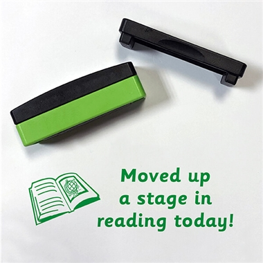 Moved Up a Stage in Reading Today Book Stakz Stamper - Green Ink (44mm x 13mm)