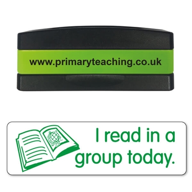 I Read in a Group Today Stakz Stamper - Green Ink (44mm x 13mm)