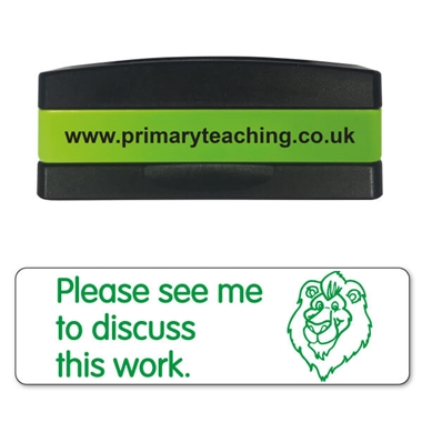 Please See Me to Discuss This Work Stakz Stamper - Green Ink (44mm x 13mm)