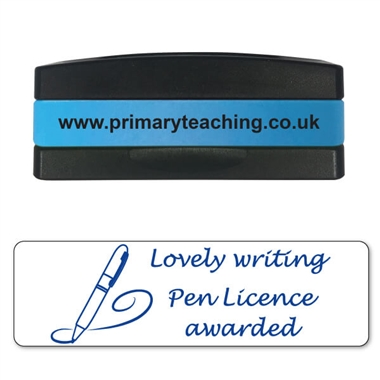 Lovely Writing Pen Licence Awarded Stakz Stamper - Blue Ink (44mm x 13mm)