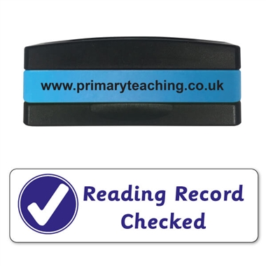 Reading Record Checked Stakz Stamper - Blue Ink (44mm x 13mm)