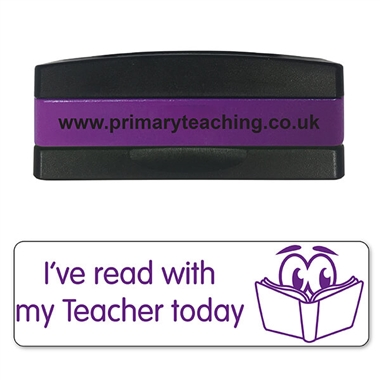 I've Read With My Teacher Today Stakz Stamper - Purple Ink (44mm x 13mm)