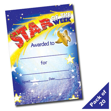 'Star of the Week' Shooting Star A5 Certificates x 20