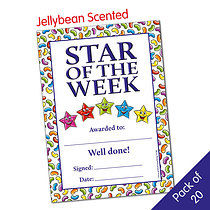 Pack of 20 Jellybean Scented Star of the Week Certificates