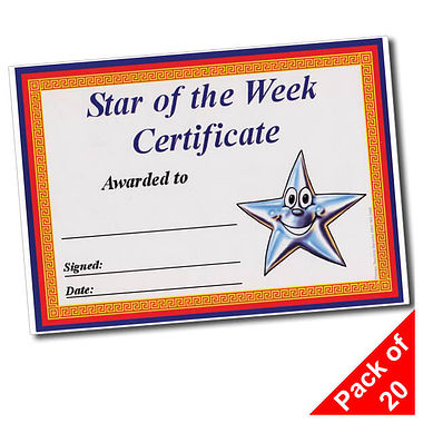 Pack of 20 Star of the Week Border A5 Certificates