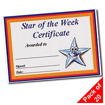 'Star of the Week' A5 Certificates x 20