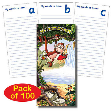 Pack of 100 Jungle Themed Spelling Book Dictionaries