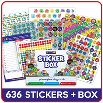School Stickers Plastic Box & 496 Stickers