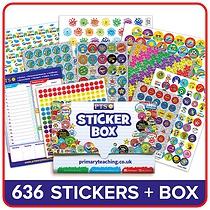 School Stickers Plastic Box & 496 Stickers