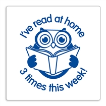 'I've read at home 3 times this week' Stamper  - Owl - Blue Ink (25mm)