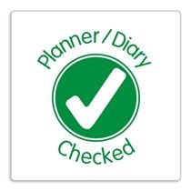'Planner/Diary Checked' Green Pre-inked Stamper