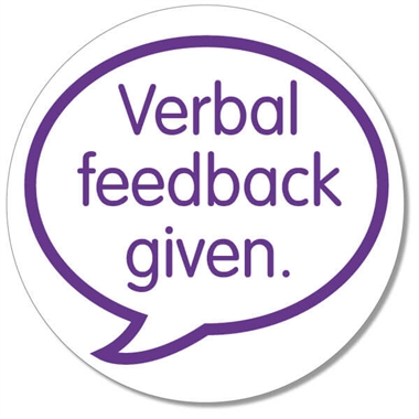Verbal Feedback Given Stamper - Purple Ink (25mm)