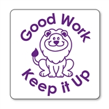 'Good Work Keep It Up' Lion Stamper (21mm, Purple Ink)