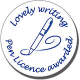 Lovely Writing Pen Licence Awarded Stamper - Blue Ink (25mm)