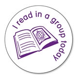 I Read in a Group Today Stamper - Purple Ink (25mm)