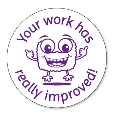 Your Work Has Really Improved Stamper - Purple Ink (25mm)