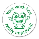 Your Work Has Really Improved Stamper - Green Ink (25mm)