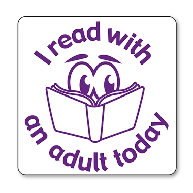 I Read with an Adult Today Stamper - Purple Ink (25mm)