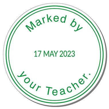 Marked by your Teacher' Adjustable Date Stamper - Green Ink (38mm)