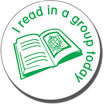 I Read in a Group Today Stamper - Green Ink (25mm)