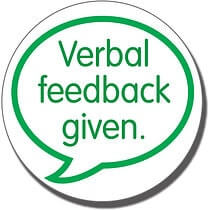 Verbal Feedback Given' 21mm Green Stamper