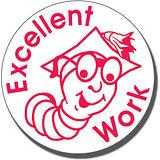 Excellent Work Worm Pre-inked Stamper