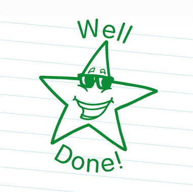 Well Done Stamper - Star - Green Ink (25mm)