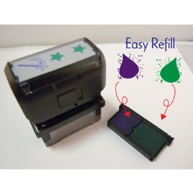2 Stars & a Wish Purple & Green Ink 2 Colour Stamper