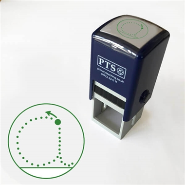 Pedagogs Marking Stamper - 'a' Letter Formation - Green Ink (25mm)