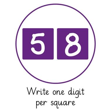Pedagogs 'Write One Digit Per Square' Purple Stamper