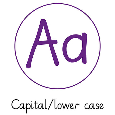 Pedagogs Marking Stamper - Aa Capital/Lower Case (Purple Ink - 20mm)
