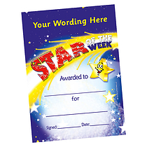 Personalised A5 Star of the Week Certificates