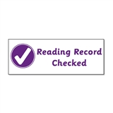 Reading Record Checked Stamper - Purple Ink (38mm x 15mm)