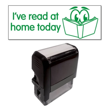 """I've read at home today"" Stamper - Green Ink (38mm x 15mm)"