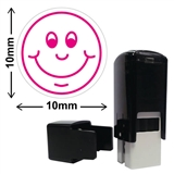 Smiley Face Mini Pre-inked Stamper - Pink Ink (10mm)