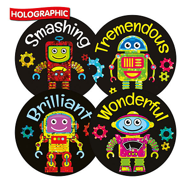 Robot Holographic Stickers (20 Stickers - 32mm) Brainwaves